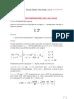 Aula 12 - Multiplicadores de Lagrange