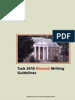 Tuck Resume Guidelines 2008