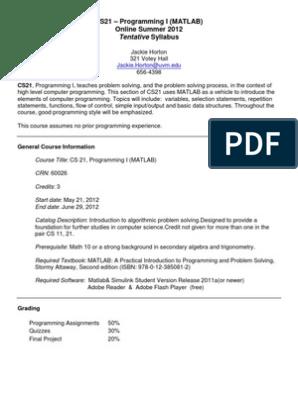 Computer Programming I: MATLAB - CS 021 OL1 - Course