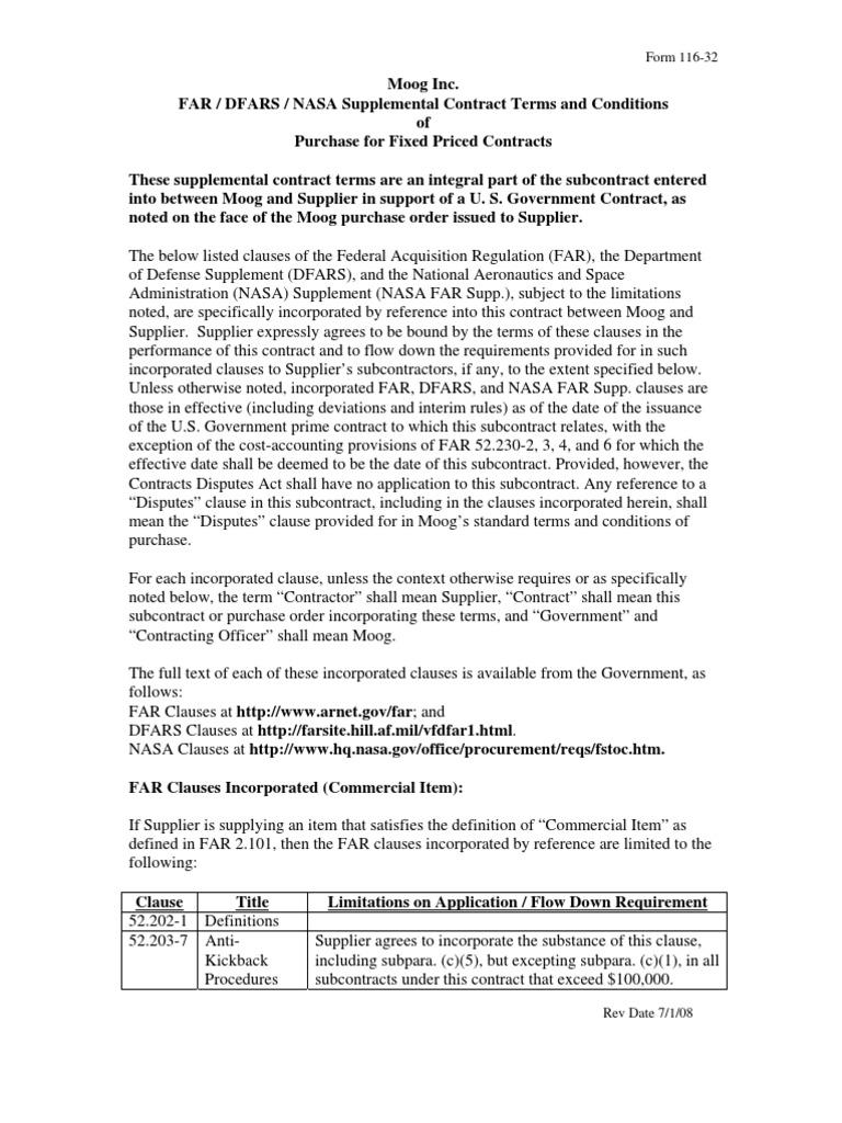FAR DFARS NASA Supplemental Contract Terms Conditions