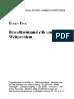 Eugen Fink Bewussteinsanalytik Und Welt Problem