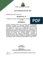 Constitucion de La Republica de Honduras