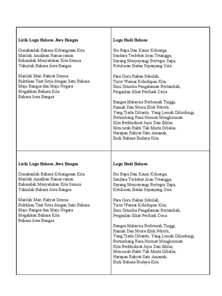 Lirik Lagu Bahasa Jiwa Bangsa Lagu Budi Bahasa