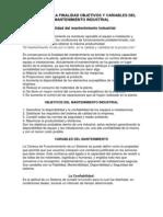 Resumen de La Finalidad Objetivos y Variables Del Mantenimiento Industrial