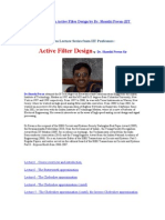 IIT Video Lectures on Active Filter Design by Dr