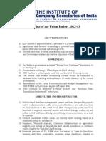 40 11277 Icsi Highlights of the Union Budget 2012 13