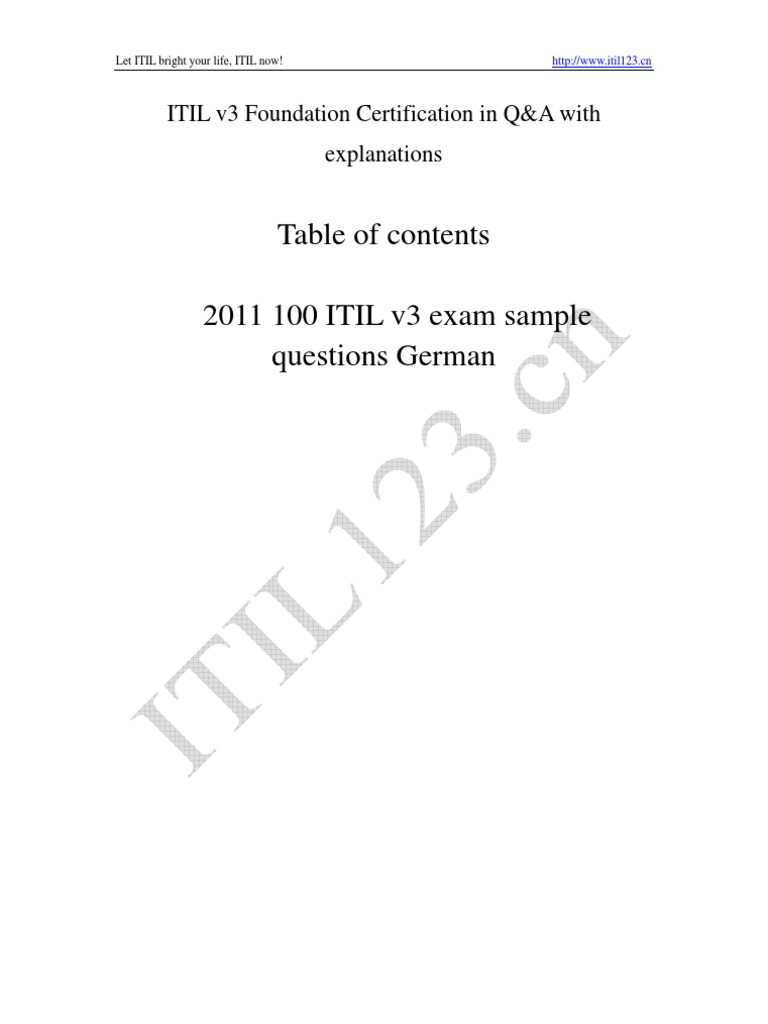 2011 Itil V3 Foundation 80 Questions Itil Computing