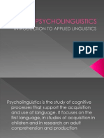 Psycho Linguistics, Sociolinguistics and Discourse Analysis