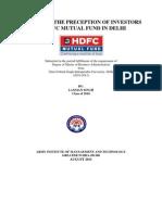A Study of the Precept Ion of Investors of Hdfc Mutual Fund in Delhi-1