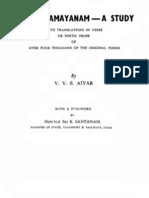 Kamba ramayanam a study Text   Sanskrit   Tamil Language