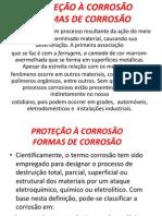 PROTEÇÃO À CORROSÃO FORMAS DE CORROSÃO