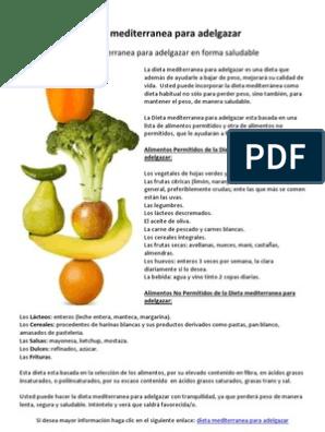 Dieta mediterranea menu semanal para adelgazar pdf
