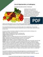 Comida contra la hipertensión y el sobrepeso