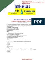 Allahabad Bank Clerk Exam 2008(Computer General Awareness)