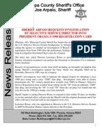 Sheriff Joe News Release