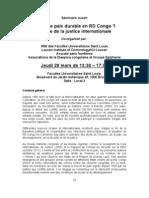 Séminaire sur la justice internationale comme condition pour la consolidation d'une paix durable et d'un développement humain en RDC