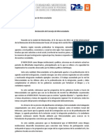Declaracion Final. 38º Consejo de Mercociudades en Montevideo