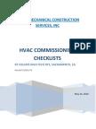 HVAC Commisioning Checklist