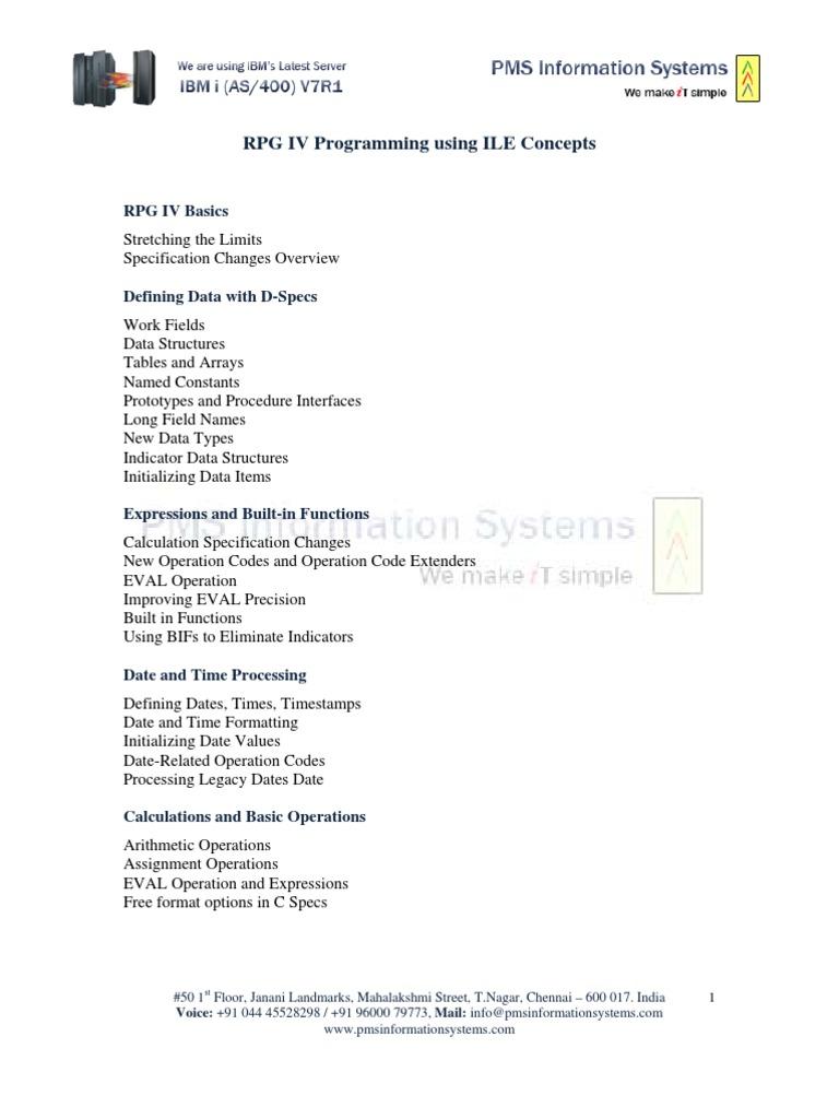 RPG IV ILE Programming | Subroutine | Application Programming Interface