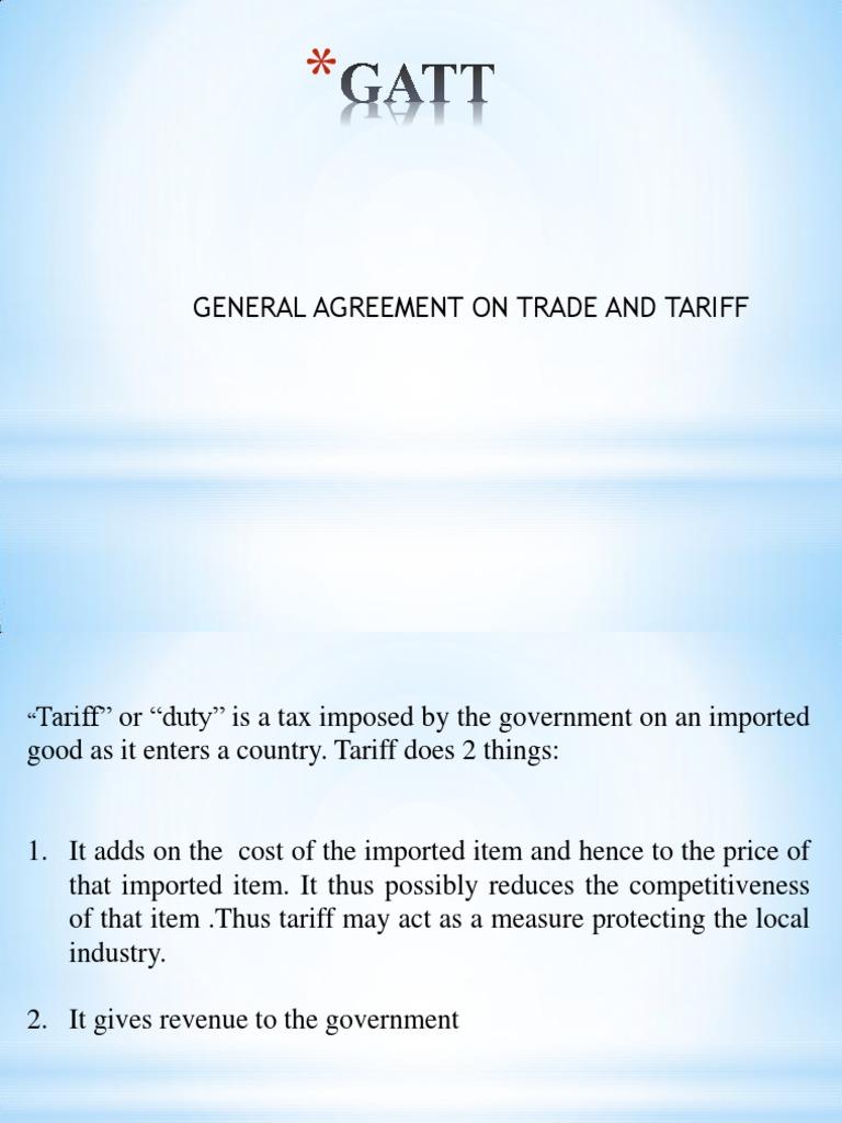 Gattppt1 General Agreement On Tariffs And Trade Uruguay Round