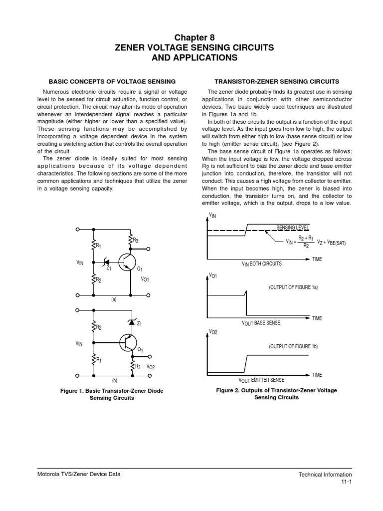 Zener Voltage Sensing Circuits And Applications Diode Electronic Volt Regulator Using Dioda Simple Schematic Diagram