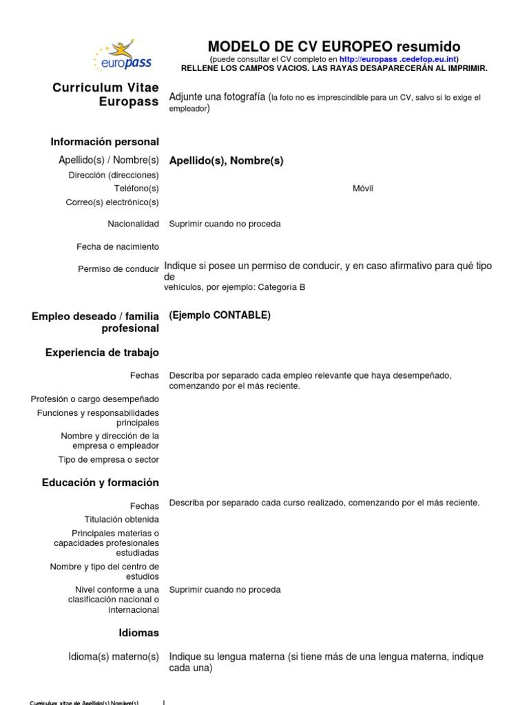 Modelo Curriculum Europass Vacio