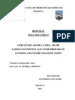 CERCETĂRI ASUPRA VARIAŢIILOR FARMACOCINETICE ALE UNOR PREPARATE ANTIINFLAMATOARE FOLOSITE TOPIC