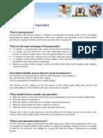 Charity FAQ Incorporation