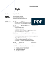 Tom Wright Resume