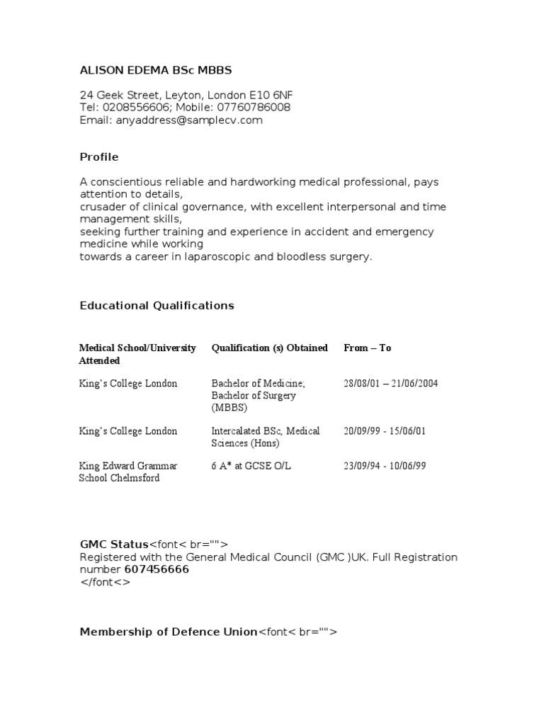 Resume Format Doctors Mbbs - The Ideal Curriculum Vitae