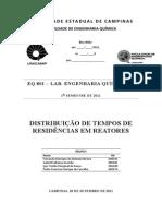 Relatório - DTR - Distribuição de Tempos de Residência - FEQ EQ801 - UNICAMP - Grupo 2 - Final