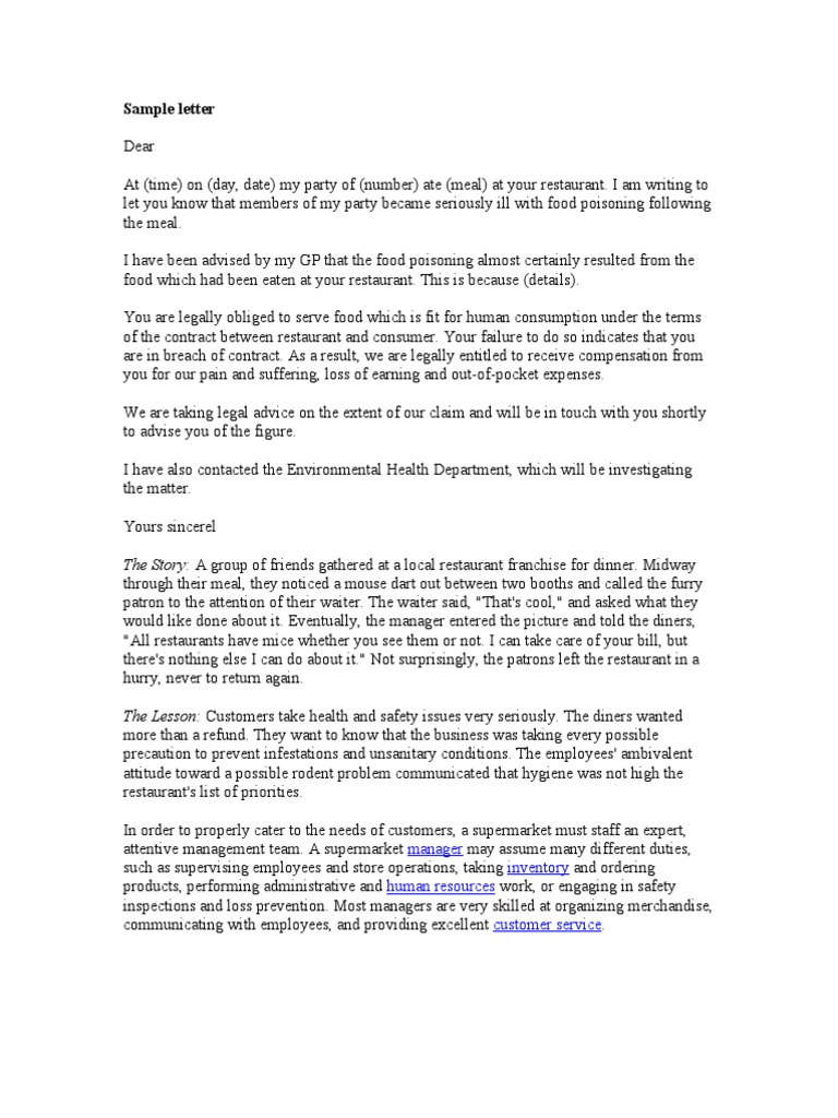 Complaint Letter Sample Supermarket Human Resource Management