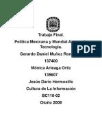 Política Mexicana y Mundial acerca de Tecnología