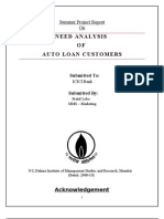 Pratul C Lobo_MMS Marketing - Need Analysis of Auto Loan Customers_ICICI Bank
