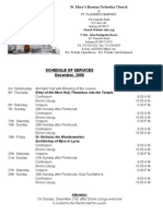 Schedule Of Divine Services for December 2008