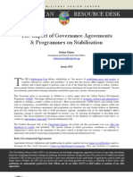 The Impact of Governance Agreements & Programmes on Stabilisation