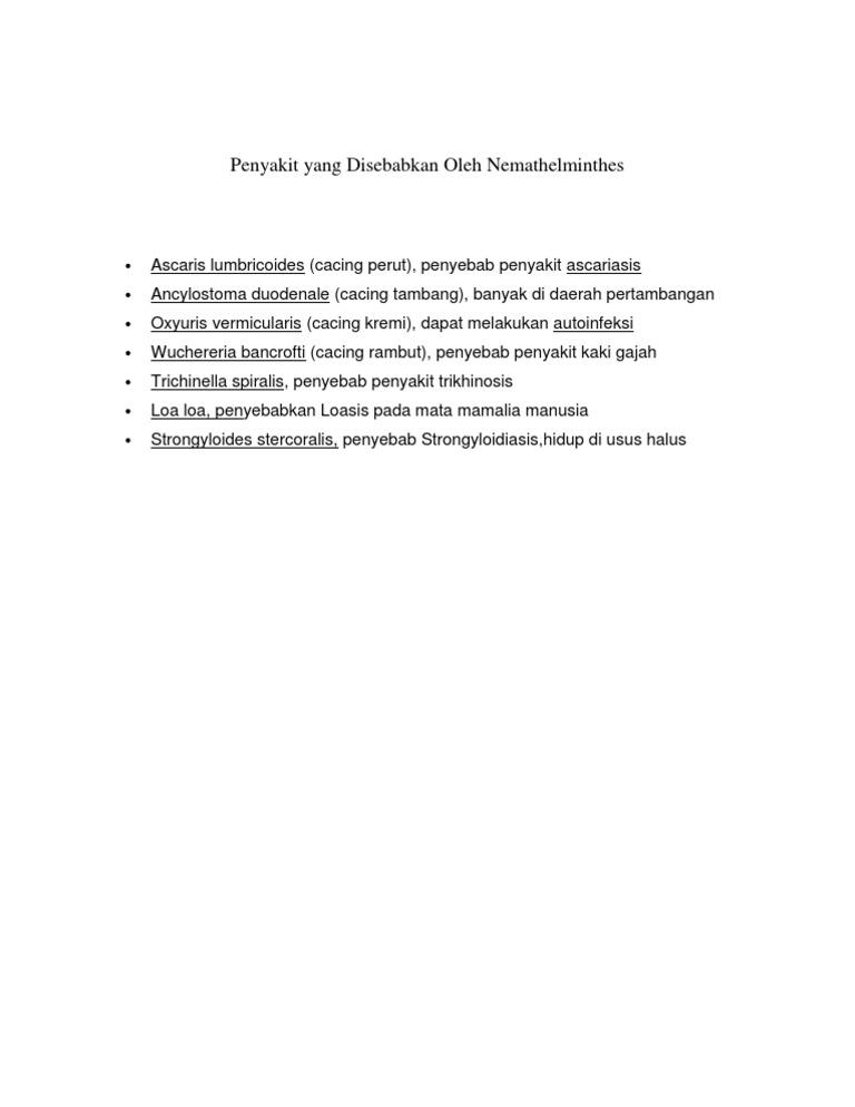 filum nemathelminthes penyebab vérszegénység