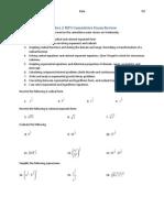 Algebra 2 MP3 Cumulative Exam Review
