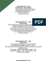 Showroom Schedule March 22nd 2012