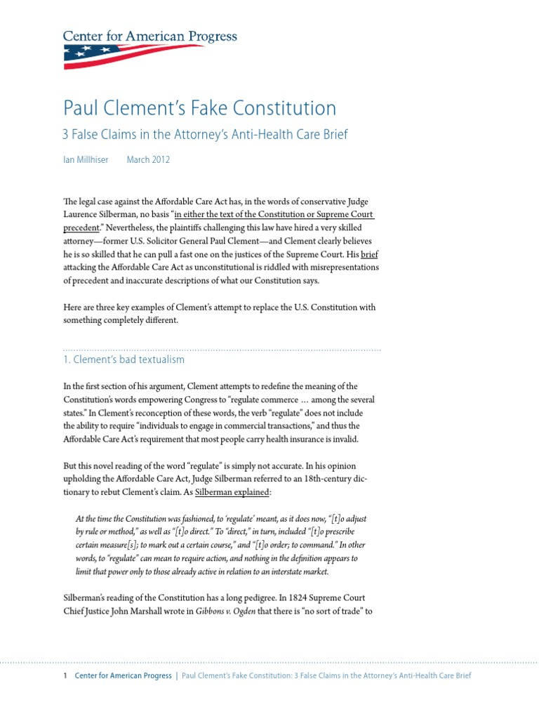 Paul Clement's Fake Constitution   Commerce Clause   Facial