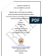 A Project Report on Financial Statement Analysis