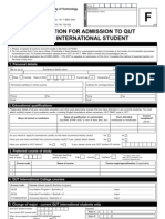 Application for Admission to QUT as An International Student