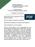 discours Ordre des éval agré du Q 2012