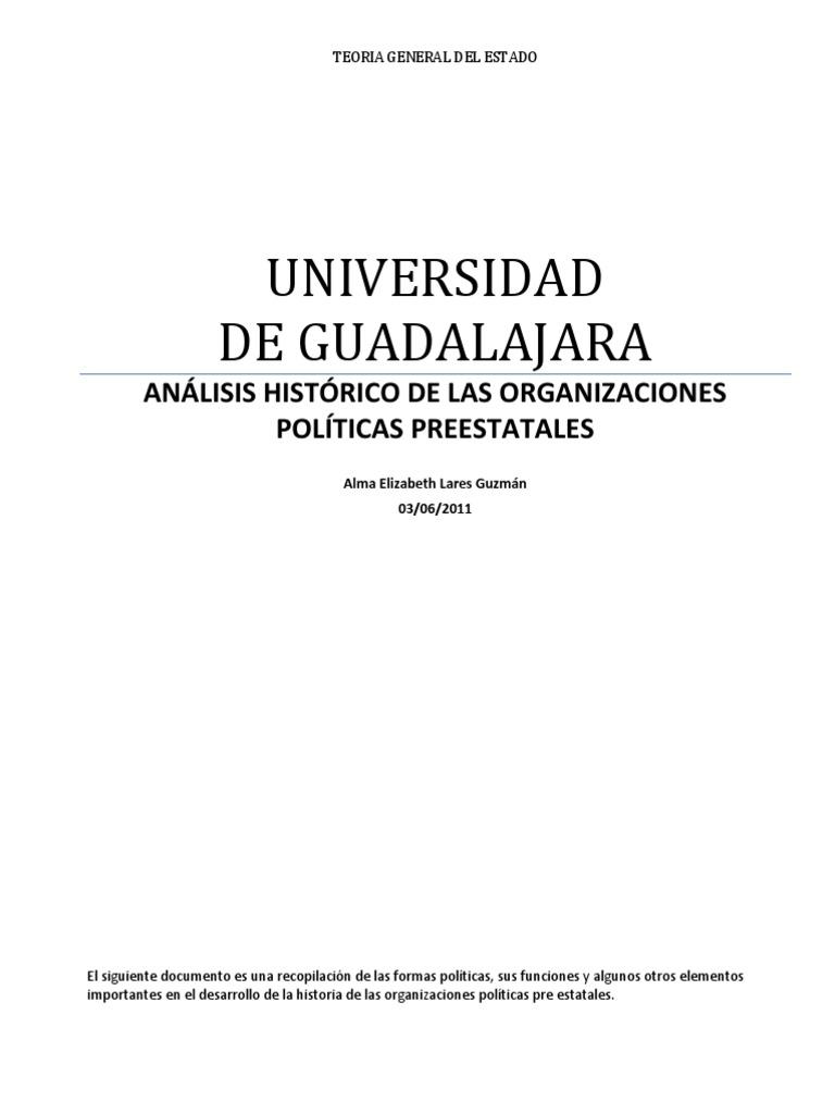 ANÁLISIS HISTÓRICO DE LAS ORGANIZACIONES POLÍTICAS PREESTATALES