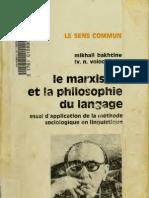 M.M. Bakhtin, Le Marxisme Et La Phi Lo Sophie Du Langage