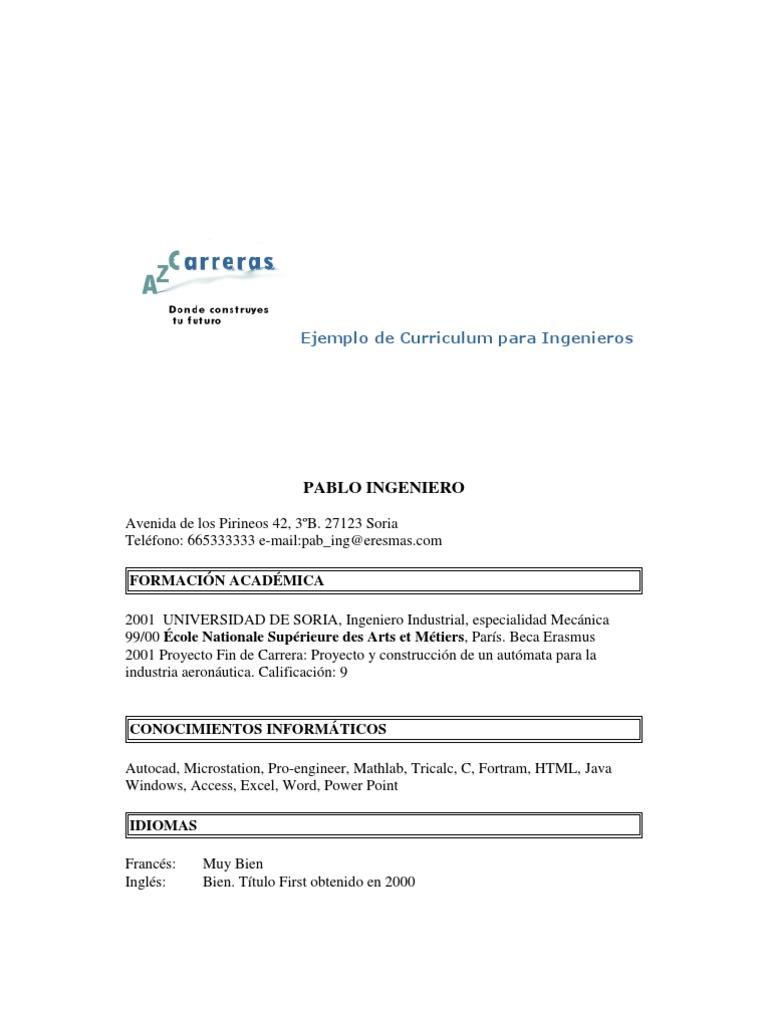 Encantador Currículum De Muestra De Ingeniero Motivo - Ejemplo De ...