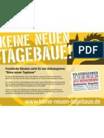 Anzeige KEINE NEUEN TAGEBAUE im Blickpunkt Dezember 2008