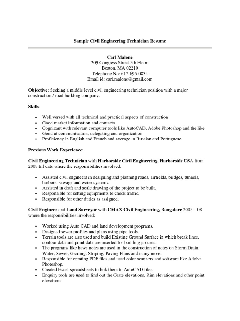 sample civil engineering technician resume