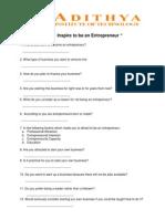 Entrepreneurship - Questionnaire