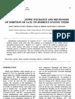 Kinetics of Isotopic Exchange and Mechanism of Sorption of Co(II) on Hydrous Stannic Oxide[1]